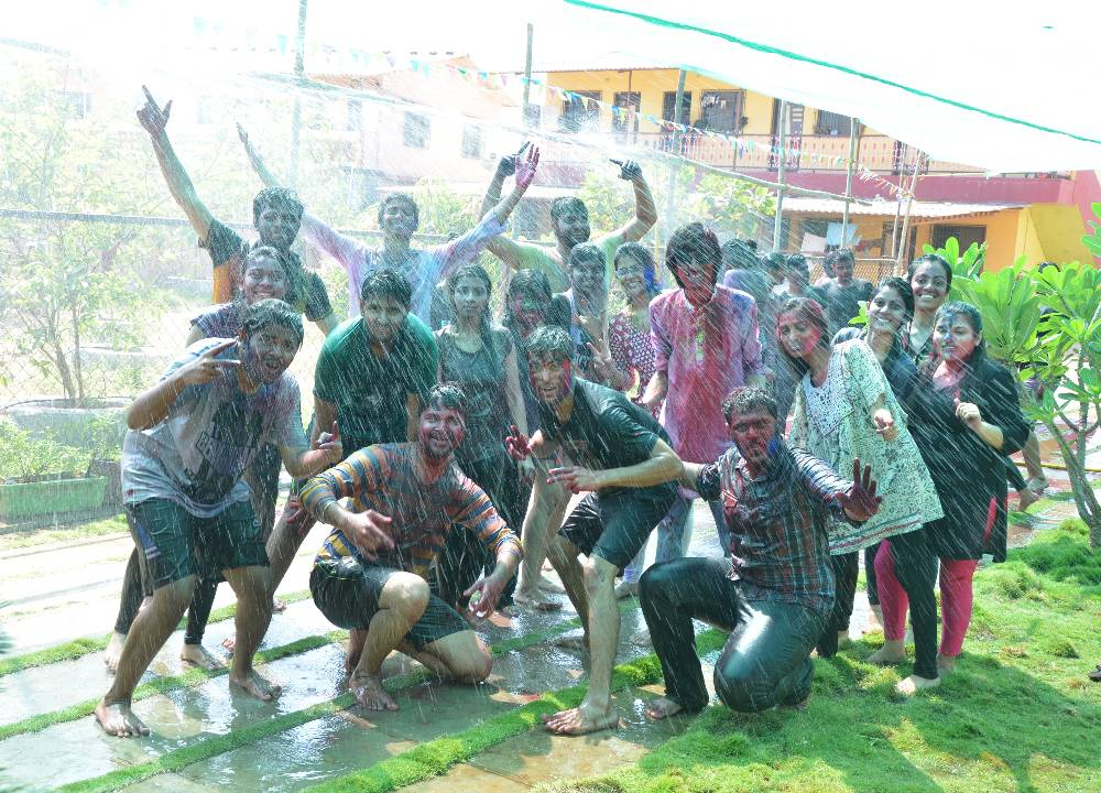 Holi Rain-dance at lawn